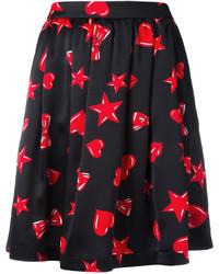 Moschino Heart Print Skater Skirt