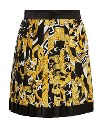 Versace Pleated Printed Silk Twill Mini Skirt