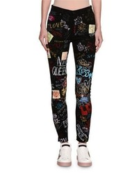 Dg queen graffiti print skinny jeans black medium 4983849