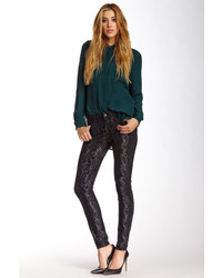 7 For All Mankind Gwenevere Gold Snake Print Skinny Jean