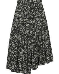 Isabel Marant Grifol Printed Silk Blend Wrap Midi Skirt Black