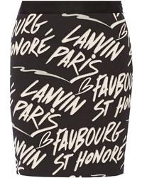 Lanvin Printed Stretch Cotton Blend Skirt Black