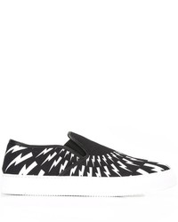 Neil Barrett Lightning Bolt Print Slip On Sneakers