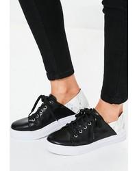 Missguided Black Marble Print Detail Sneakers