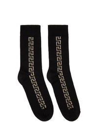 Versace Black And Gold Greca Socks