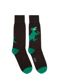 Ps By Paul Smith Black And Green Big Dino Socks