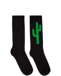 Palm Angels Black And Green Cactus Socks