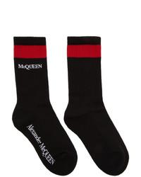 Alexander McQueen Black And Red Stripe Logo Socks