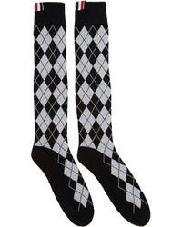 Thom Browne Black Argyle Intarsia Over The Calf Socks
