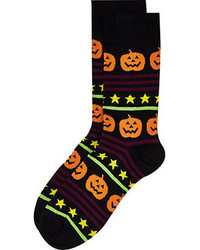 River Island Black Halloween Pumpkin Print Socks