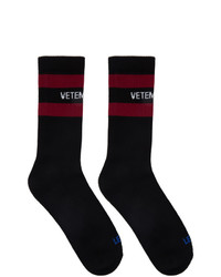 Vetements Black Reebok Edition Classic Socks