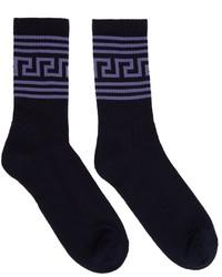 Versace Navy Greca Socks
