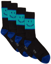 Ps By Paul Smith Three Pack Black Blue Ps Face Socks