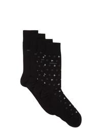 BOSS Two Pack Black All Over Logo Socks