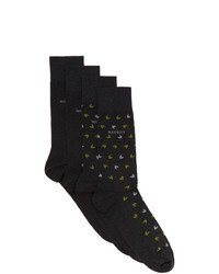BOSS Two Pack Grey All Over Logo Mismatched Socks