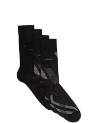 BOSS Two Pack Grey And Black Diagonal Stripes Mismatched Socks