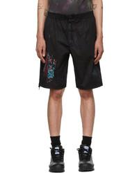 McQ Black Bruised Tie Dye Bloomer Shorts