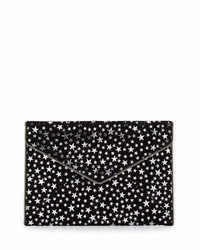 Black Print Suede Clutch