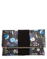 Tonal Floral Print Foldover Clutch Black