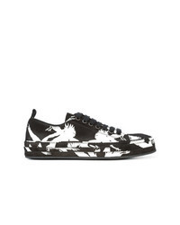 Black Print Suede Low Top Sneakers