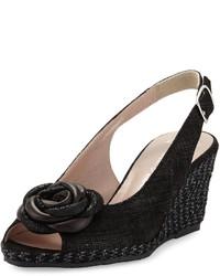 Sesto Meucci Rosette Slingback Wedge Sandal Black