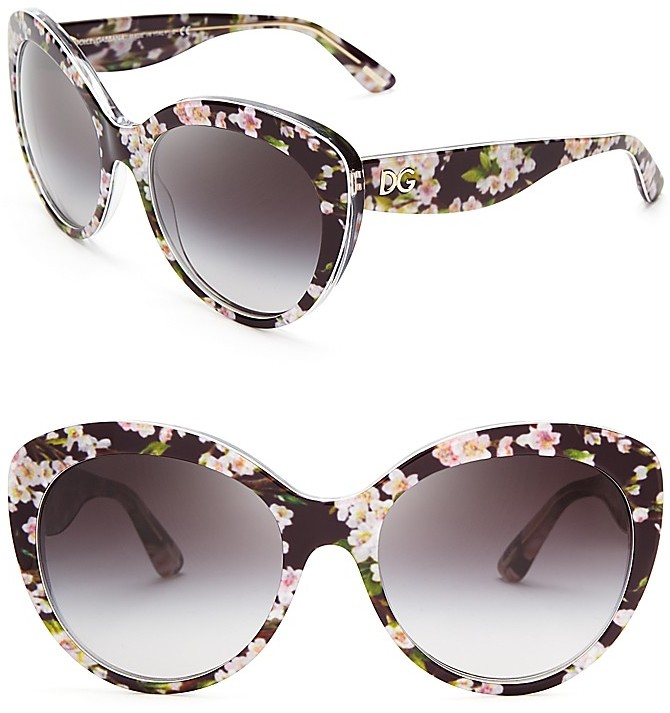 dolce gabbana dolcegabbana floral cat eye sunglasses - Dolce And Gabbana Frames