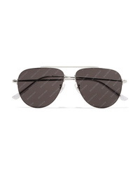 Balenciaga Invisible Printed Aviator Style Silver Tone Sunglasses