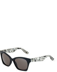 f46f3d01d82da ... McQ by Alexander McQueen Mcq Alexander Mcqueen Graphic Arm Cat Eye  Sunglasses Black