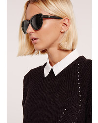 Missguided Printed Soft Cat Eye Frame Sunglasses Black