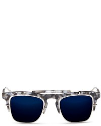Nobrand X Linda Farrow Square Half Acetate Frame Sunglasses