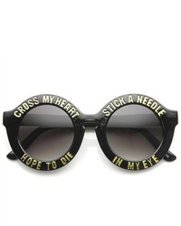 ZeroUV Oversized Bold Rim Font Frame Round Sunglasses