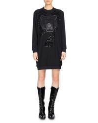 Kenzo Long Sleeve Graphic Sweaterdress Black