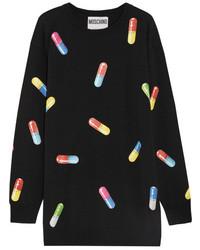 Moschino Printed Wool Sweater Dress Black
