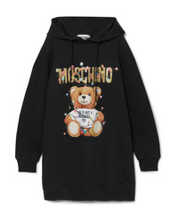 Moschino Teddy Hooded Printed Cotton Jersey Dress