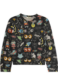 Fendi Printed Modal Neoprene Sweatshirt Black