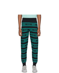 Kenzo Black And Blue All Over Logo Lounge Pants