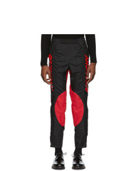 Givenchy Black And Red Two Toned Biker Pants