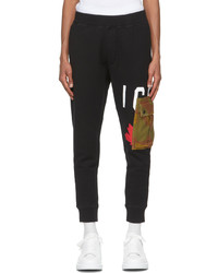DSQUARED2 Black Camo Icon Pocket Lounge Pants