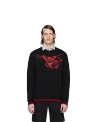 McQ Alexander McQueen Black And Red Embroidered Graphic Sweatshirt