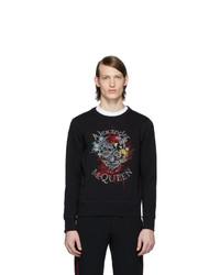 Alexander McQueen Black Glowing Botanical Skull Sweatshirt
