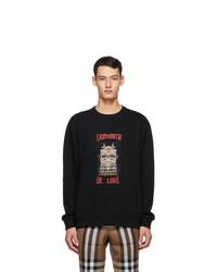 Burberry Black Slogan Print Sweatshirt