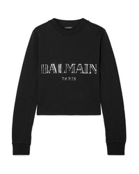 Balmain Cropped Appliqud Cotton Jersey Sweatshirt