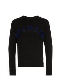 Balmain Flocked Logo Applique Zip Cotton Sweatshirt