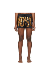 Moschino Black And Bronze Logo Swim Shorts