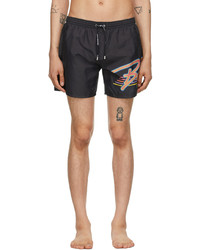 Balmain Black Multicolor Logo Swim Shorts
