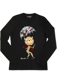 DSQUARED2 Leopard Printed Cotton Jersey T Shirt