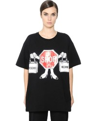 Moschino Shop Sign Printed Cotton Jersey T Shirt