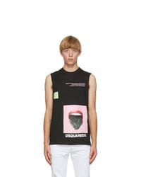 DSQUARED2 Black Pressed Sleeveless T Shirt