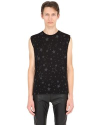 Saint Laurent Sleeveless Stars Printed Cotton T Shirt