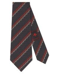 Gucci Game Logo Diagonal Stripe Silk Tie